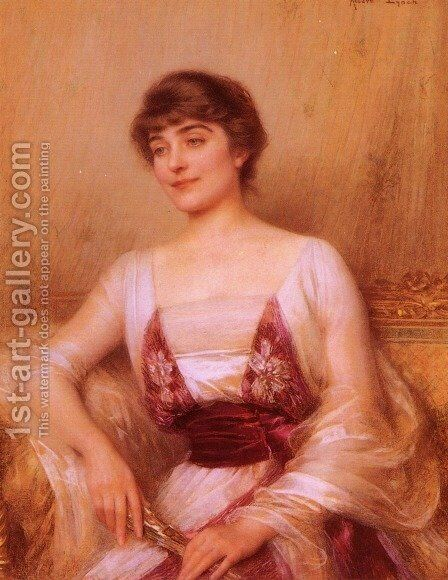 A Lady With A Fan by Albert Lynch - Reproduction Oil Painting