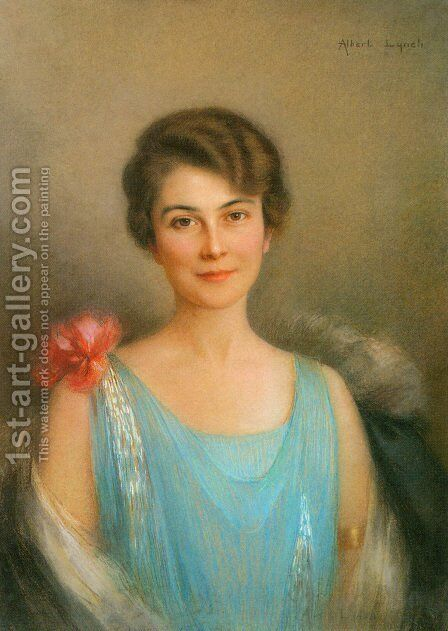 A Portrait Of A Lady In Blue by Albert Lynch - Reproduction Oil Painting