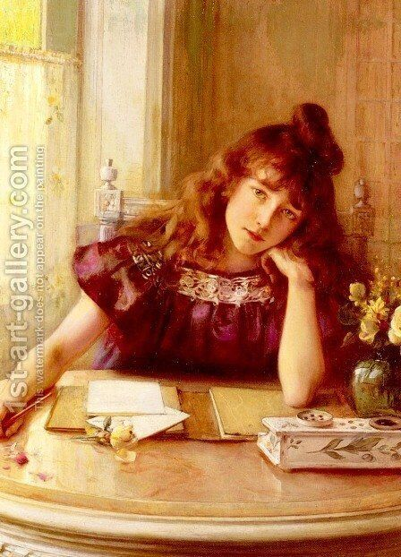 The Letter by Albert Lynch - Reproduction Oil Painting