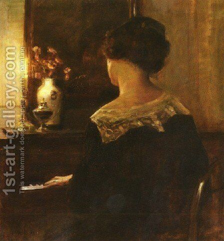 A Lady Playing The Piano by Carl Wilhelm Holsoe - Reproduction Oil Painting