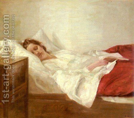 Asleep by Carl Wilhelm Holsoe - Reproduction Oil Painting