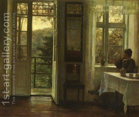 At The Window by Carl Wilhelm Holsoe - Reproduction Oil Painting