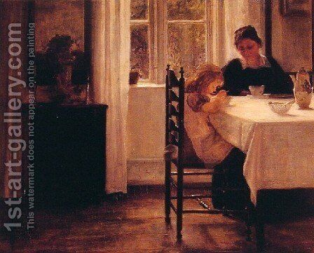 Breakfast Time by Carl Wilhelm Holsoe - Reproduction Oil Painting