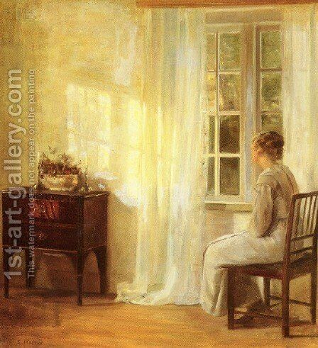 Waiting By The Window by Carl Wilhelm Holsoe - Reproduction Oil Painting