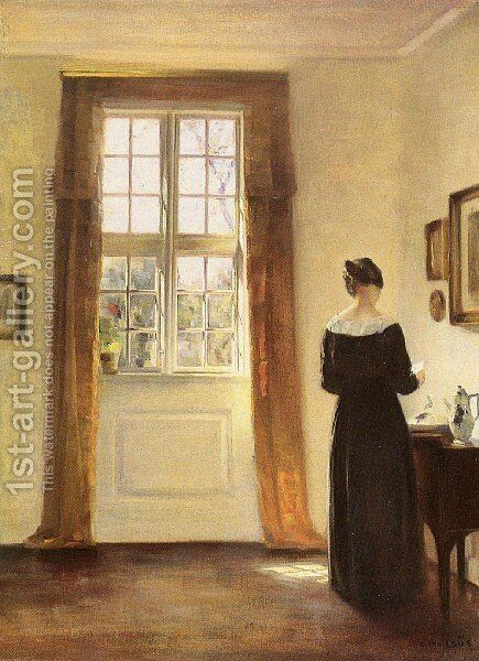 Woman In Interior by Carl Wilhelm Holsoe - Reproduction Oil Painting