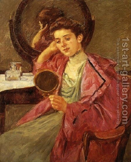 Antoinette At Her Dressing Table by Mary Cassatt - Reproduction Oil Painting