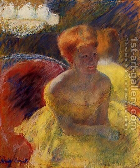 At The Theater Aka Lydia Cassatt Leaning On Her Arms  Seated In A Loge by Mary Cassatt - Reproduction Oil Painting