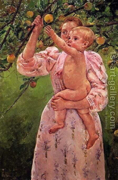 Baby Reaching For An Apple Aka Child Picking Fruit by Mary Cassatt - Reproduction Oil Painting
