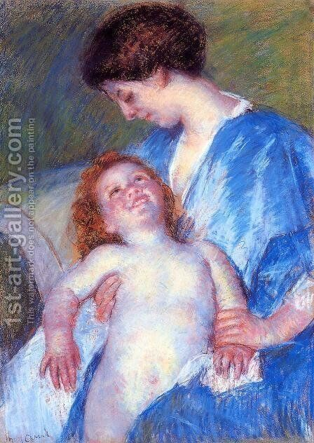 Baby Smiling Up At Her Mother by Mary Cassatt - Reproduction Oil Painting
