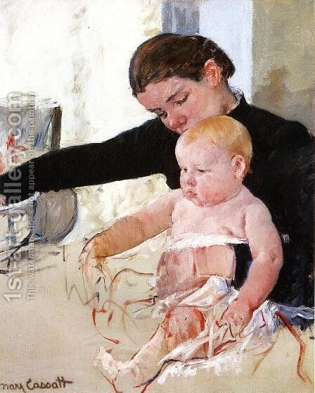 Bathing The Young Heir by Mary Cassatt - Reproduction Oil Painting