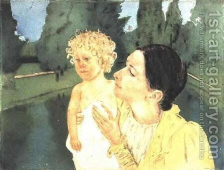 By The Pond by Mary Cassatt - Reproduction Oil Painting