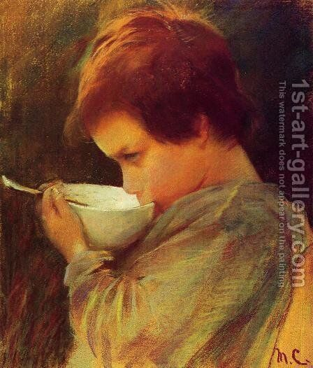 Child Drinking Milk by Mary Cassatt - Reproduction Oil Painting