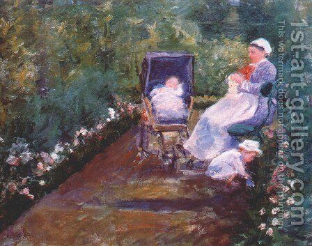 Children In A Garden by Mary Cassatt - Reproduction Oil Painting