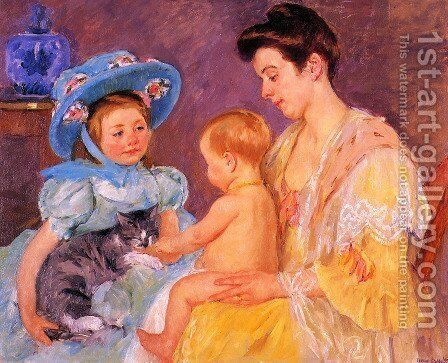 Children Playing With A Cat by Mary Cassatt - Reproduction Oil Painting