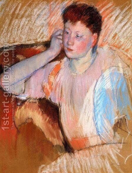 Clarissa  Turned Left  With Her Hand To Her Ear by Mary Cassatt - Reproduction Oil Painting