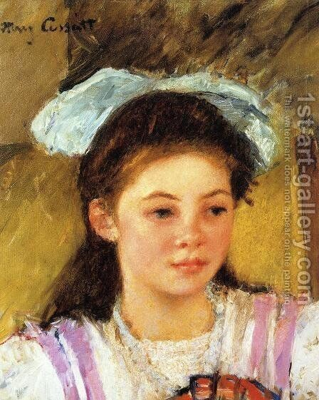 Ellen Mary Cassatt With A Large Bow In Her Hair by Mary Cassatt - Reproduction Oil Painting
