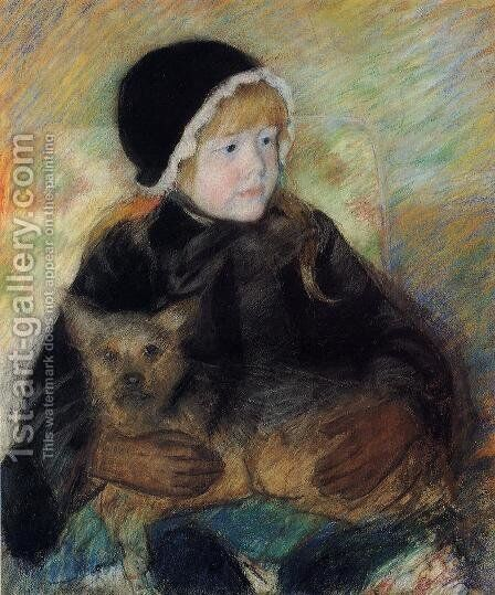 Elsie Cassatt Holding A Big Dog by Mary Cassatt - Reproduction Oil Painting