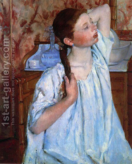 Girl Arranging Her Hair by Mary Cassatt - Reproduction Oil Painting