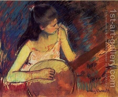 Girl With A Banjo by Mary Cassatt - Reproduction Oil Painting