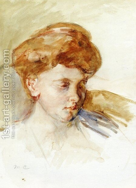 Head Of A Young Woman by Mary Cassatt - Reproduction Oil Painting