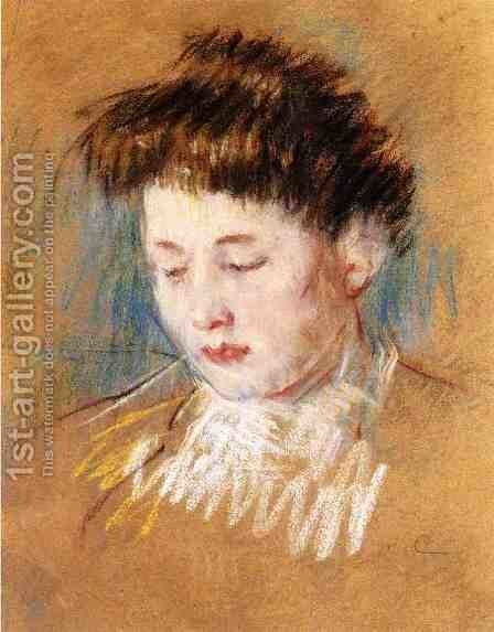 Head Of Julie  Looking Down by Mary Cassatt - Reproduction Oil Painting
