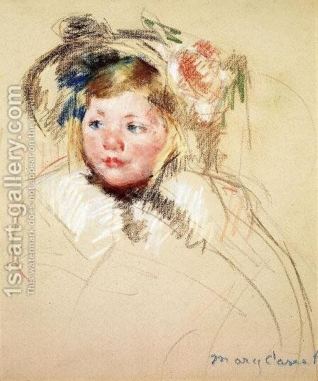 Head Of Sara In A Bonnet Looking Left by Mary Cassatt - Reproduction Oil Painting