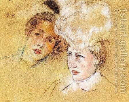 Heads Of Leontine And A Friend by Mary Cassatt - Reproduction Oil Painting