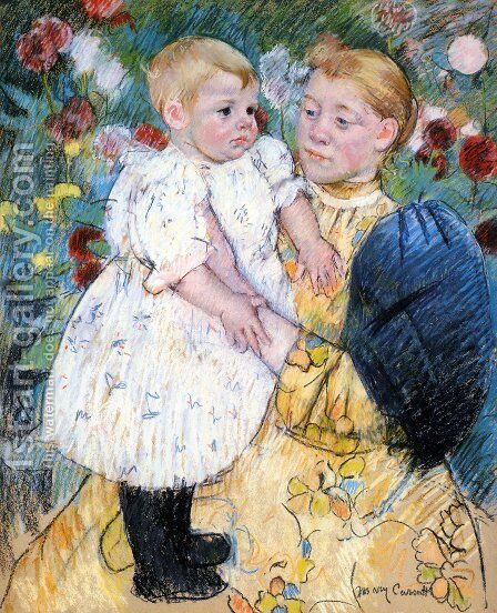 In The Garden by Mary Cassatt - Reproduction Oil Painting