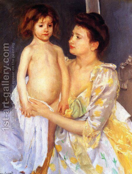 Jules Being Dried By His Mother by Mary Cassatt - Reproduction Oil Painting