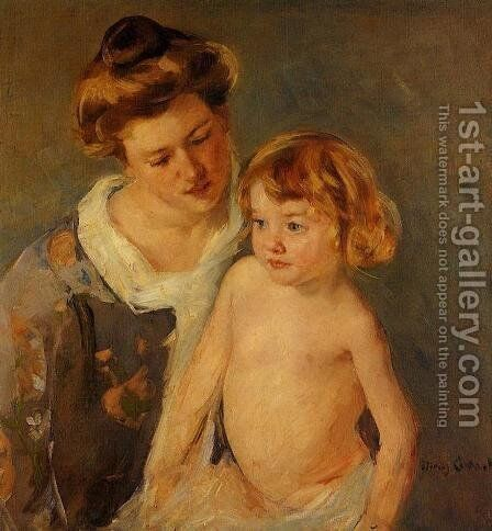 Jules Standing By His Mother by Mary Cassatt - Reproduction Oil Painting