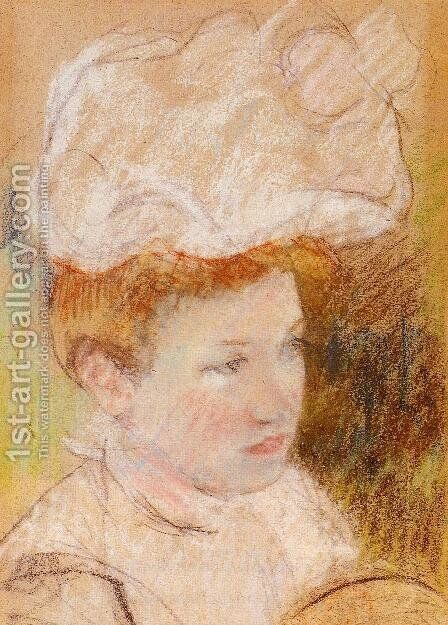 Leontine In A Pink Fluffy Hat by Mary Cassatt - Reproduction Oil Painting