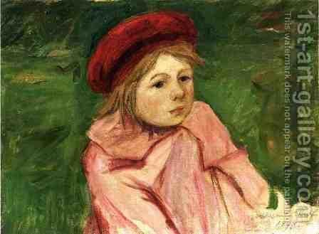 Little Girl In A Red Beret by Mary Cassatt - Reproduction Oil Painting