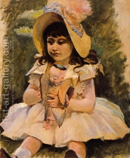 Little Girl With A Japanese Doll by Mary Cassatt - Reproduction Oil Painting