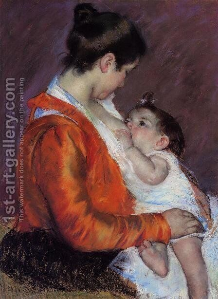 Louise Nursing Her Child by Mary Cassatt - Reproduction Oil Painting
