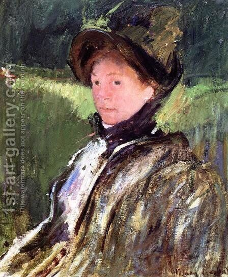 Lydia Cassatt In A Green Bonnet And A Coat by Mary Cassatt - Reproduction Oil Painting