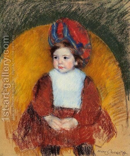 Margot In A Dark Red Costume Seated On A Round Backed Chair by Mary Cassatt - Reproduction Oil Painting