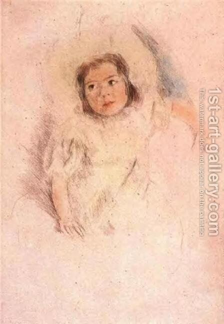 Margot Wearing A Bonnet by Mary Cassatt - Reproduction Oil Painting