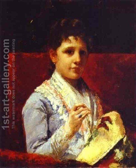 Mary Ellison Embroidering by Mary Cassatt - Reproduction Oil Painting