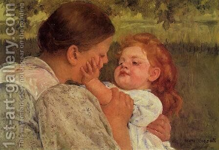 Maternal Caress by Mary Cassatt - Reproduction Oil Painting