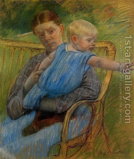 Mathilde Holding A Baby Who Reaches Out To The Right by Mary Cassatt - Reproduction Oil Painting