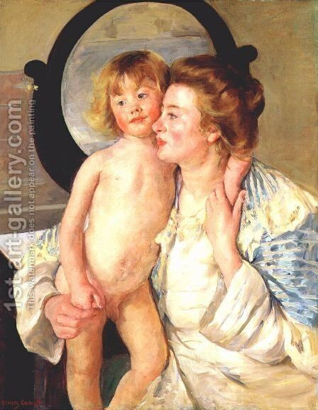 Mother And Child Aka The Oval Mirror by Mary Cassatt - Reproduction Oil Painting