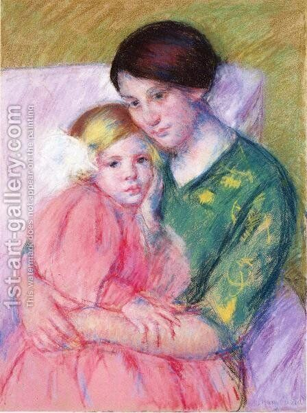 Mother And Child Reading by Mary Cassatt - Reproduction Oil Painting