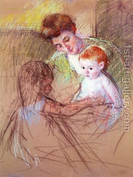 Mother And Daughter Looking At The Baby by Mary Cassatt - Reproduction Oil Painting