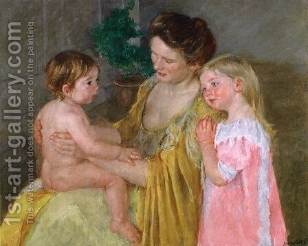 Mother And Two Children by Mary Cassatt - Reproduction Oil Painting