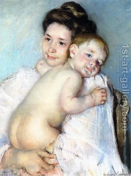 Mother Berthe Holding Her Baby by Mary Cassatt - Reproduction Oil Painting