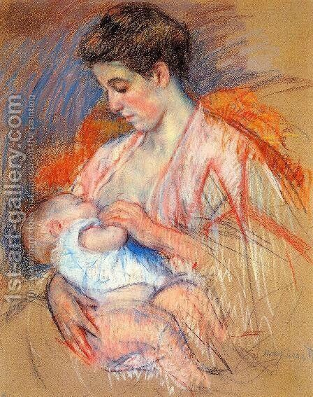 Mother Jeanne Nursing Her Baby by Mary Cassatt - Reproduction Oil Painting