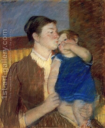 Mothers Goodnight Kiss by Mary Cassatt - Reproduction Oil Painting