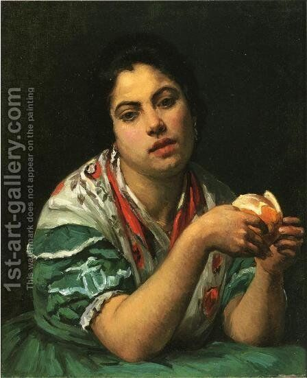 Peasant Woman Peeling An Orange by Mary Cassatt - Reproduction Oil Painting