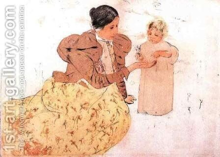 Picking Daisies In A Field by Mary Cassatt - Reproduction Oil Painting
