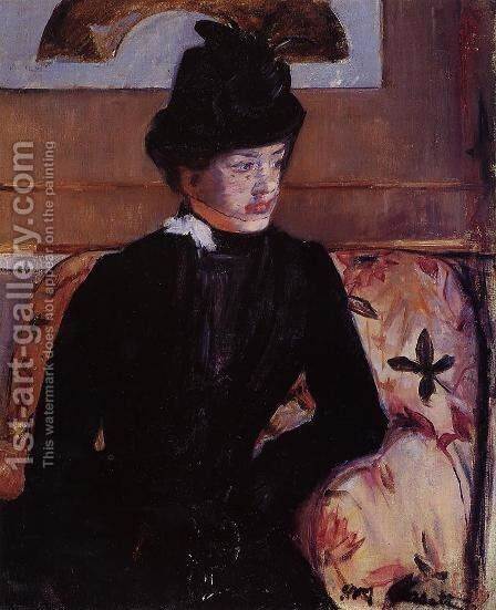 Portrait Of Madame J Aka Young Woman In Black by Mary Cassatt - Reproduction Oil Painting